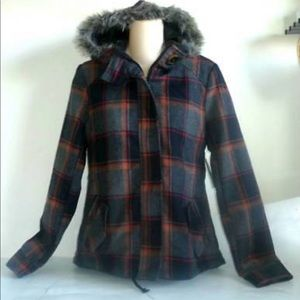 Plaid Faux fur hooded coat